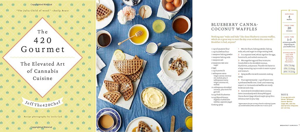 Front cover of the 420 Gourmet book and a recipe for cannabis waffles