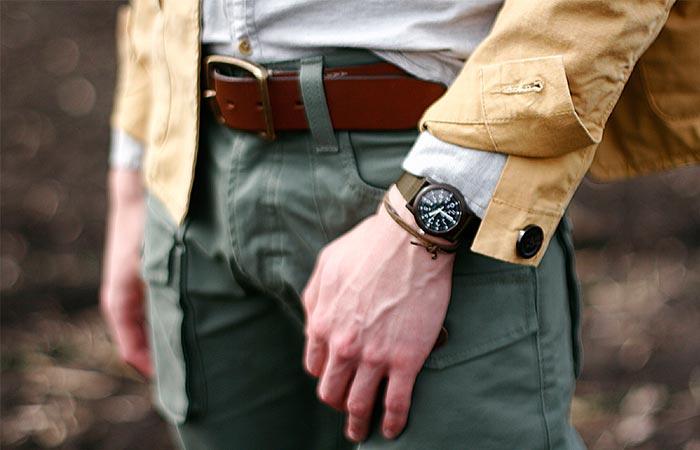 A Guy Wearing Green Timex Camper Watch