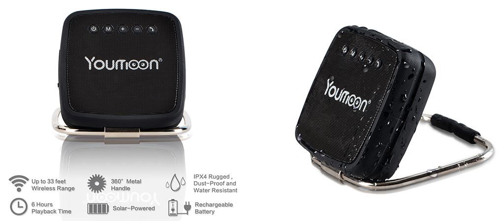 Two different views of the Youmoon portable speaker and its features