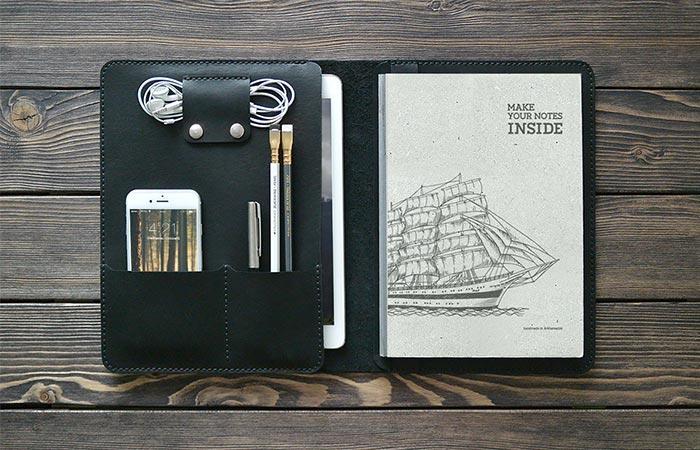 Black iPad Leather Folio Opened