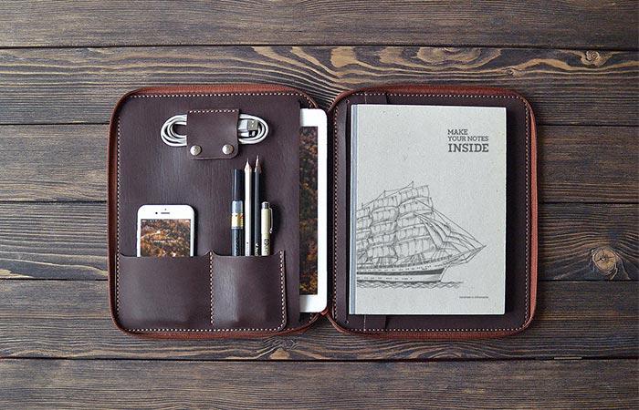 Brown iPad Leather Folio Opened