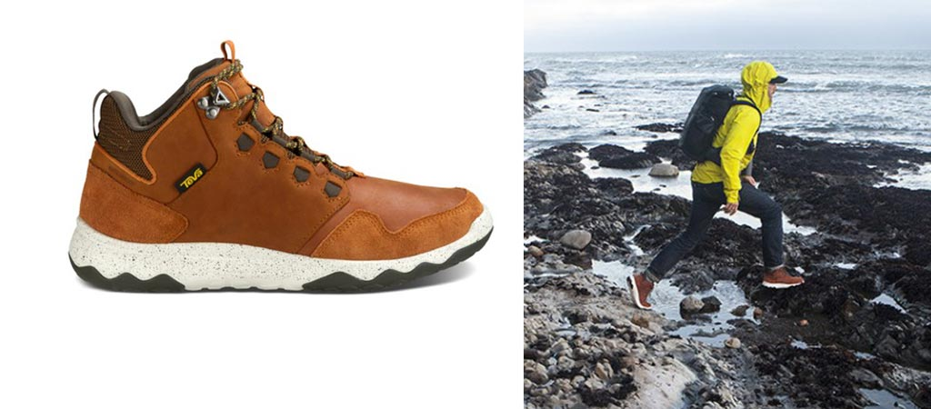 Arrowood Lux Mid Hiker by itself and a man wearing a pair while traversing a rock pool