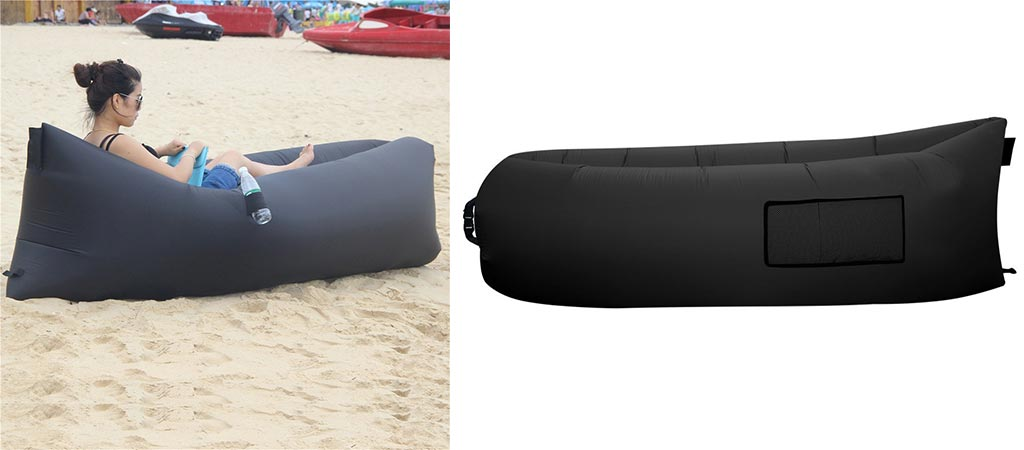 Girl using the BonClare inflatable lounger and a picture of it by itself.
