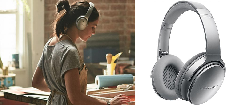 Woman using the Bose Quiet Comfort 35 Headphones and a shot of it by itself.