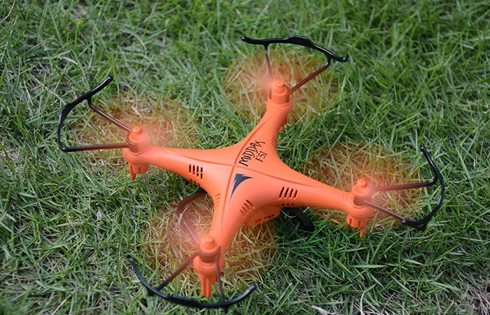 GPTOYS F51C RC Quadcopter on the ground standing on it's landing gear