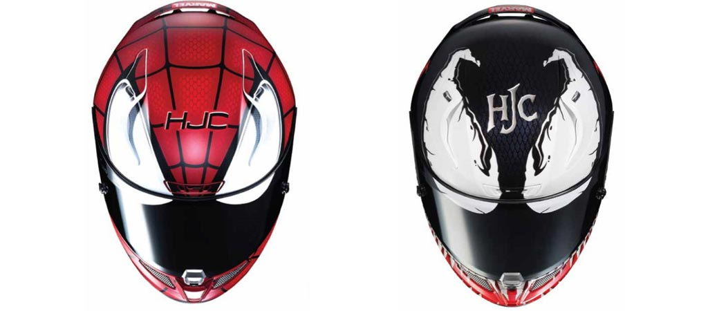 HJC x Marvel Spiderman and Venom Helmets