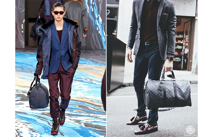 Two Guys Carrying Louis Vuitton Keepall Voyager Bag
