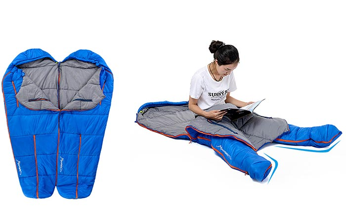 NatureHike Sleeping bag spliced together and a woman using it with the legs zipped apart