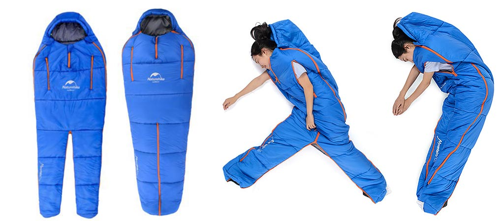NatureHike Sleeping Bag by itself and a woman using it
