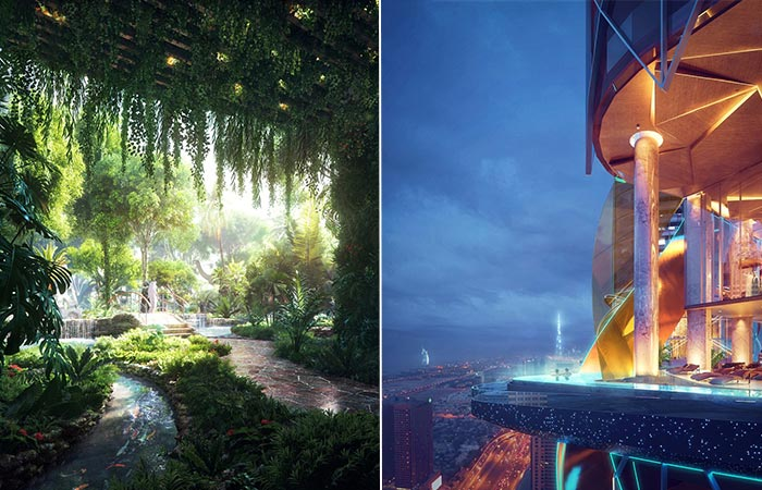Rosemont Hotel & Residences Infinity Pool and Rainforest Inside
