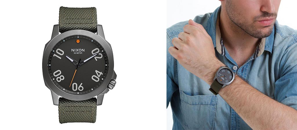 Man wearing the Nixon Ranger 45 Nylon on his wrist and a shot of its front face