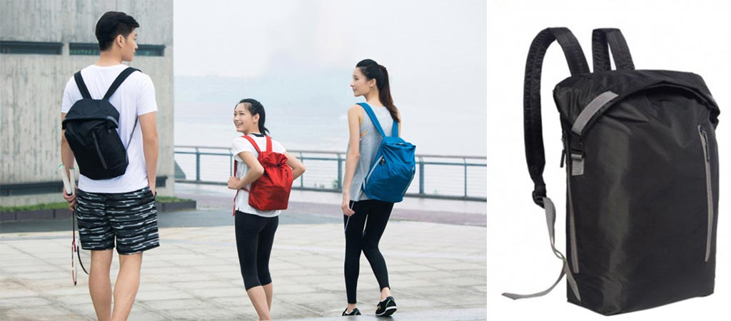 Two girls and one guy carrying the Xiaomi 20L Backpack as well as a shot of it by itself.