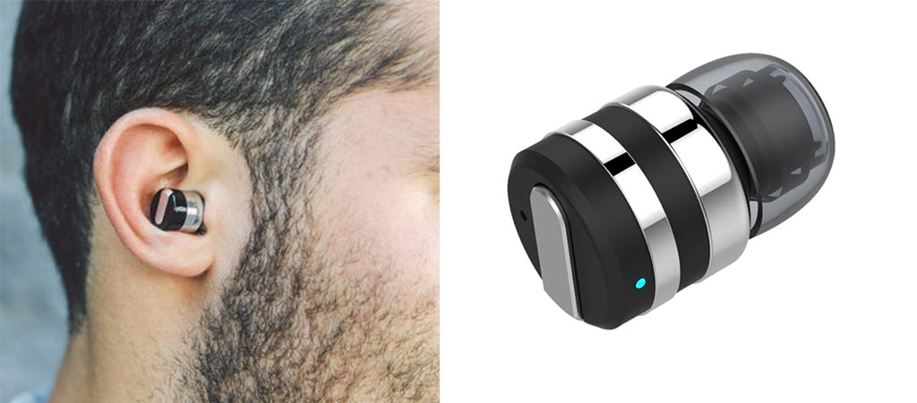 Schatzii Bullet 2.0 in a man's ear and the earbud by itself
