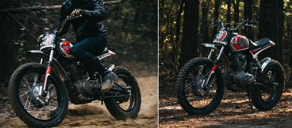 Man riding the Super Duc Ducati 250 Scrambler and a shot of it by itself