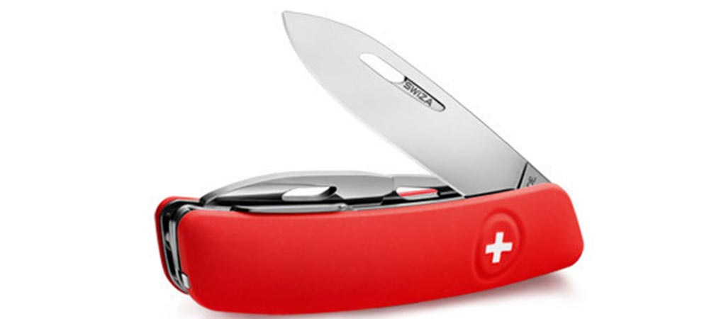 Swiza Pocket Knife with the blade partially extended