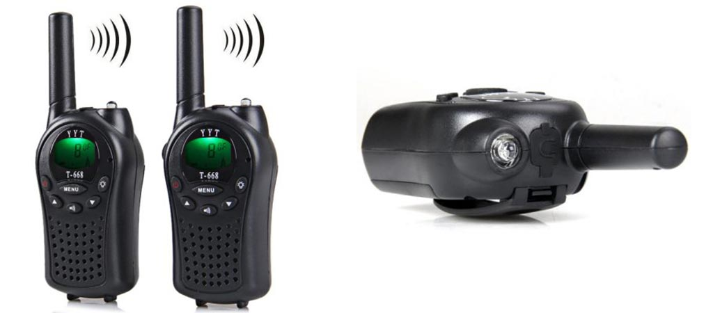 T-668 Walkie Talkie Set front view and view of the LED flashlight