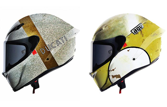 Two Ducati And Agv Hello Cousteau Helmets