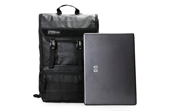 Timbuk2 Rogue Laptop Backpack next to a laptop