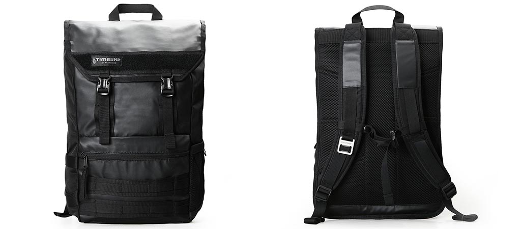 Front and back view of the Timbuk2 Rogue Laptop Backpack