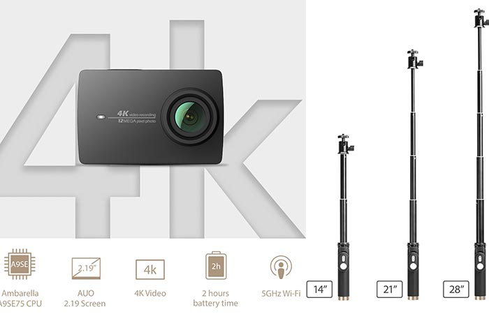 YI 4K Action Cam with features and selfie stick adjustment sizes
