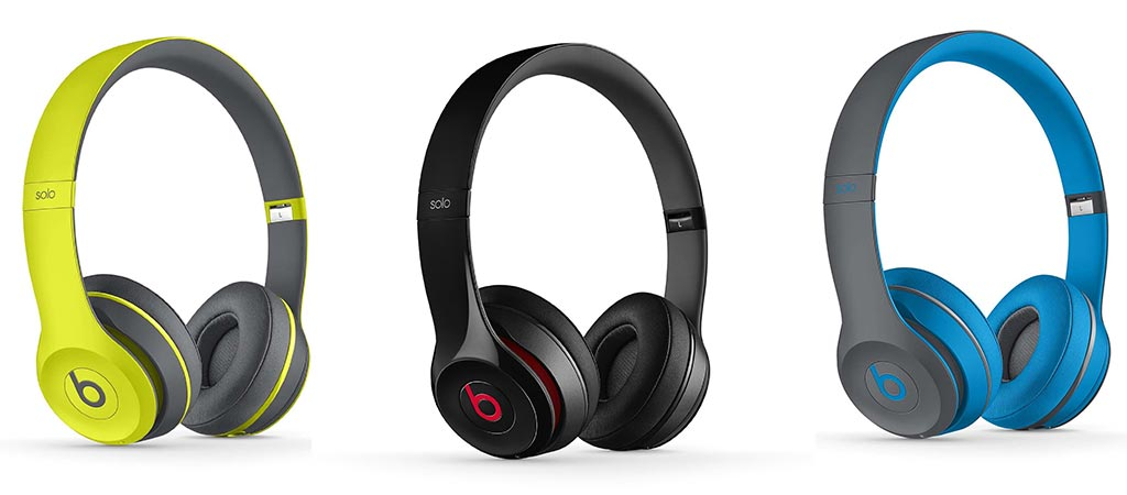 3 different colors in the Beats Solo2 Wireless Headphone Collection
