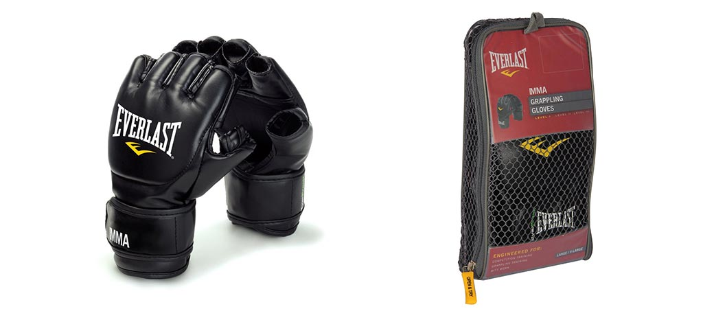Everlast Mixed Martial Arts Grappling Gloves by themselves and in the case that they come in