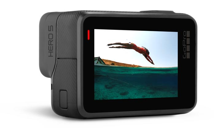 GoPro Hero5 Black view of the touch screen