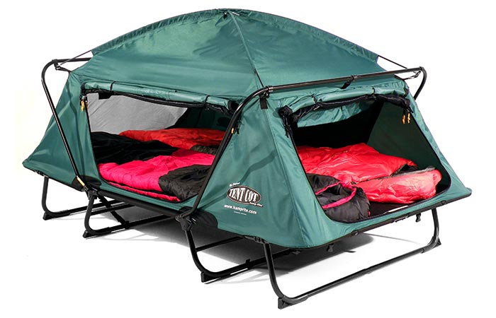 KampRite Double TentCot with sleeping bags and covers rolled up
