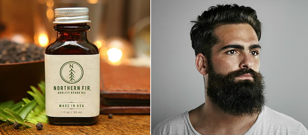 Northern Fir bottle and a photo of a man with a beard