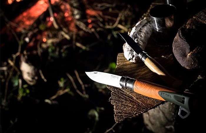 Opinel No. 12 Explore On A Wooden Log