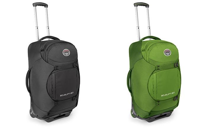 Black and Green Osprey Sojourn Wheeled Luggage