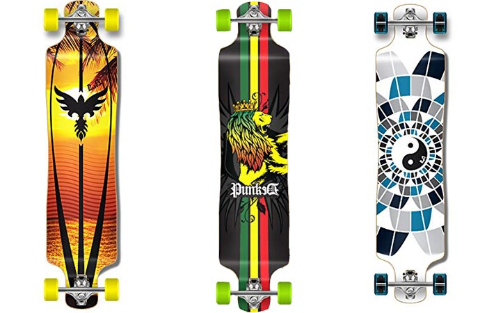 3 different versions of the Punked Lowrider Longboard