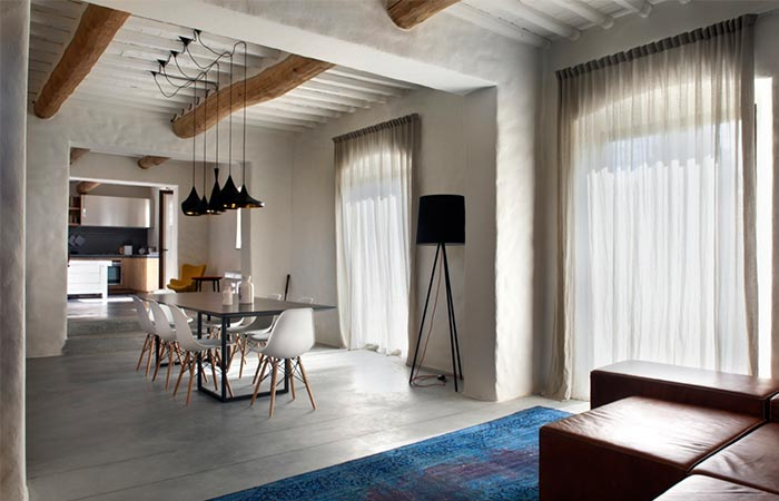 Tuscan Farmhouse Living Room And Dining Area