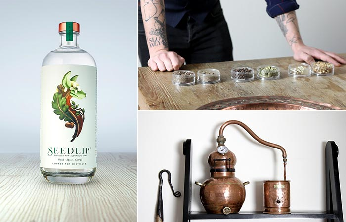 Seedlip Bottle, A Guy With Six Herb Blends On The Table And Old Distillery Equipment
