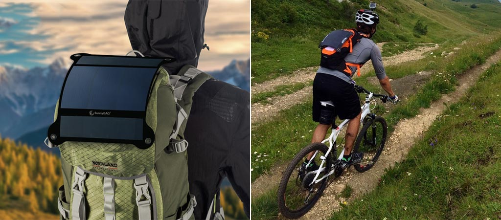 Shot of the Sunnybag Leaf+ on a backpack and on the backpack of a cyclist