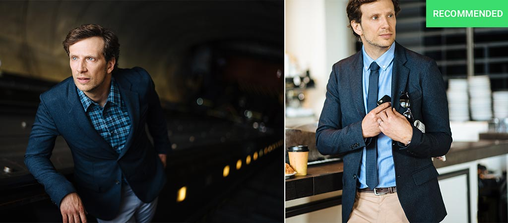 Two different pictures of Stefan Loble wearing The Blazer by Bluffworks
