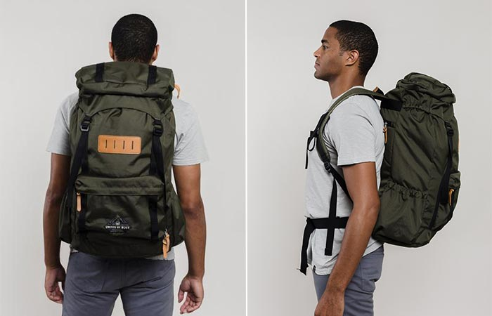 Two Images Of A Guy Wearing United By Blue 45L Range Daypack