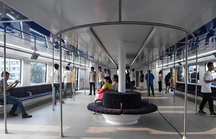 World's First Transit Elevated Bus internal view