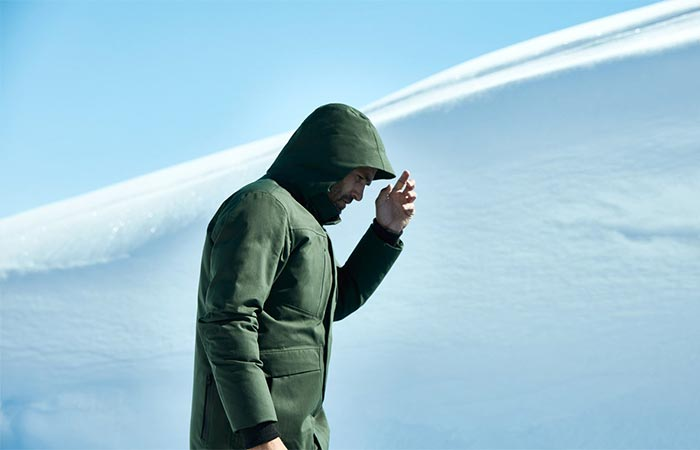 A Guy In The Snow In Green Jacket