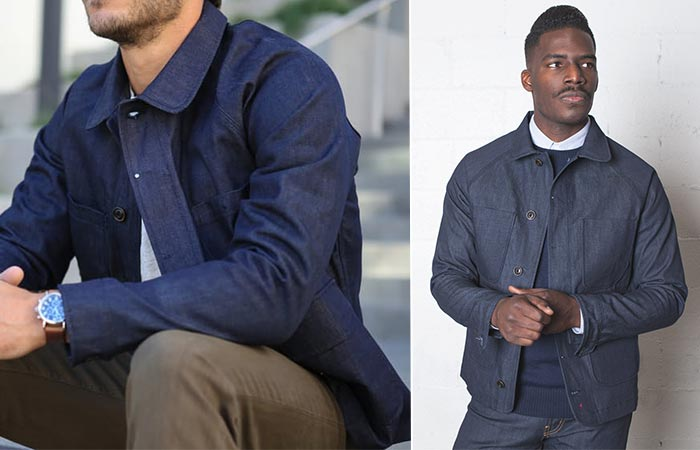 Two Guys Wearing An Indigo Denim Coat