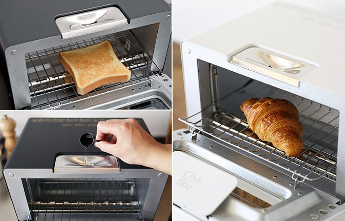 Three images of Balmuda Toaster being used