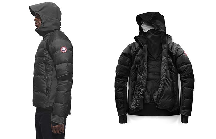Side view of a man wearing the Canada Goose Hybridge Sutton Parka with the hood up and a picture of it by itself