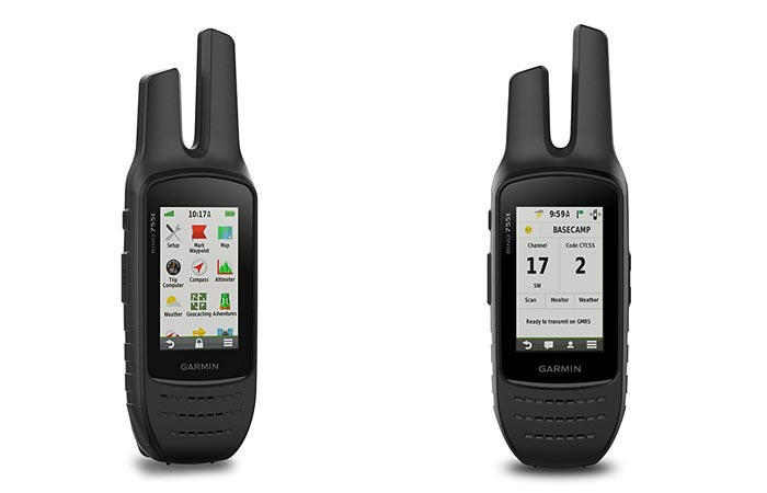 A view of the menu and a view of the temperature of the Garmin Rino 755T