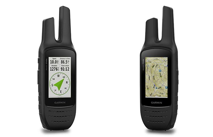 View of the compass and also the GPS maps of the Garmin Rino 755T