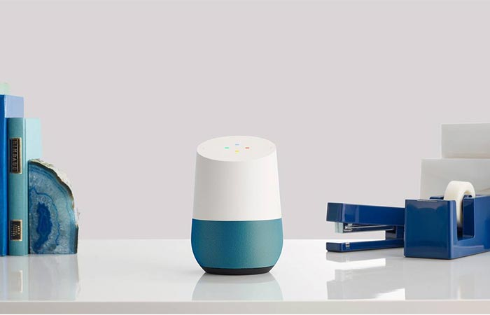 Blue Google Home Device