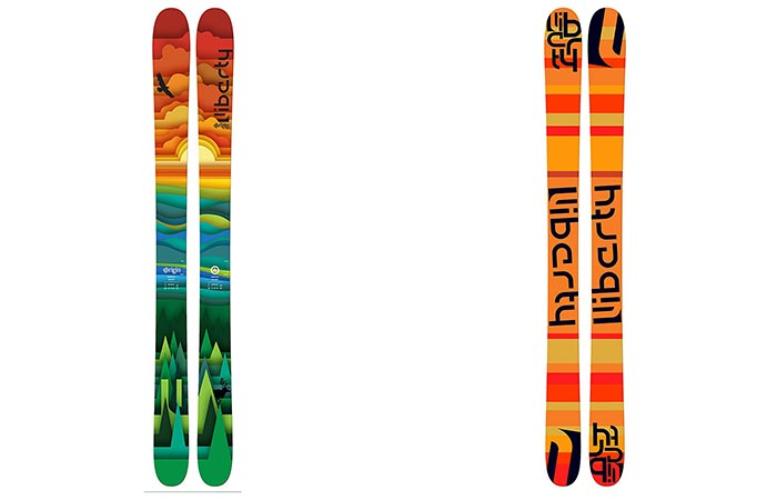 Liberty Origin Skis top and bottom view