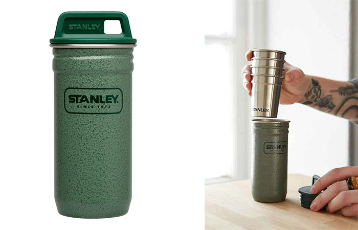 Stanley Shot Glasses Stored In A Steel Carrying Case