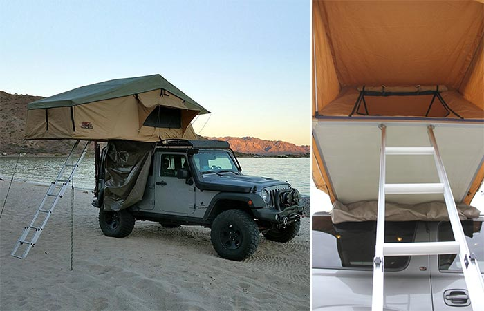 Picture of a Jeep with the Tuff Stuff Overland set up and a picture of the ladder