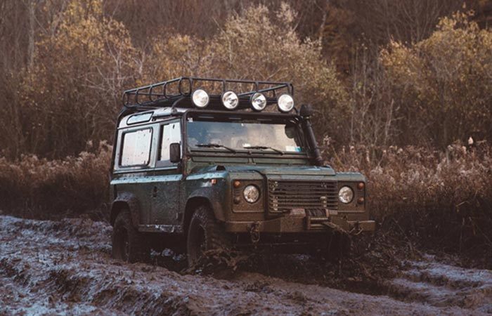 Off-roading Land Rover