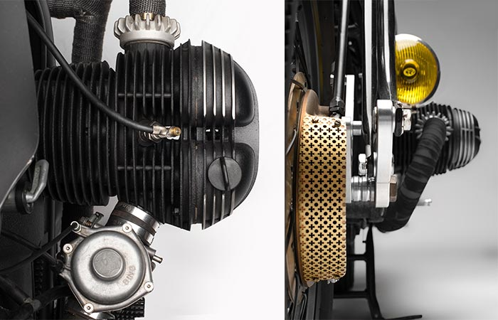 BMW R75/5 Nerboruta Custom two different views of the motor and intake